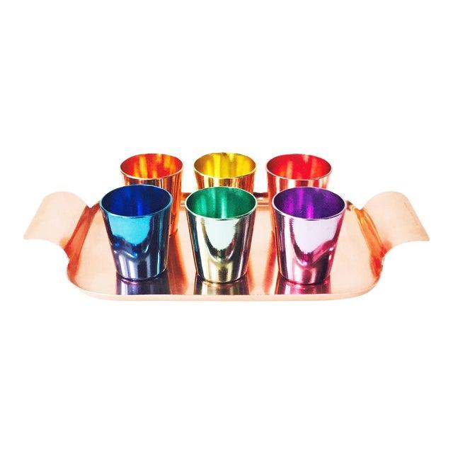 Colorful Vintage German Metal Shot Glasses - Set of 6 - Image 1 of 6
