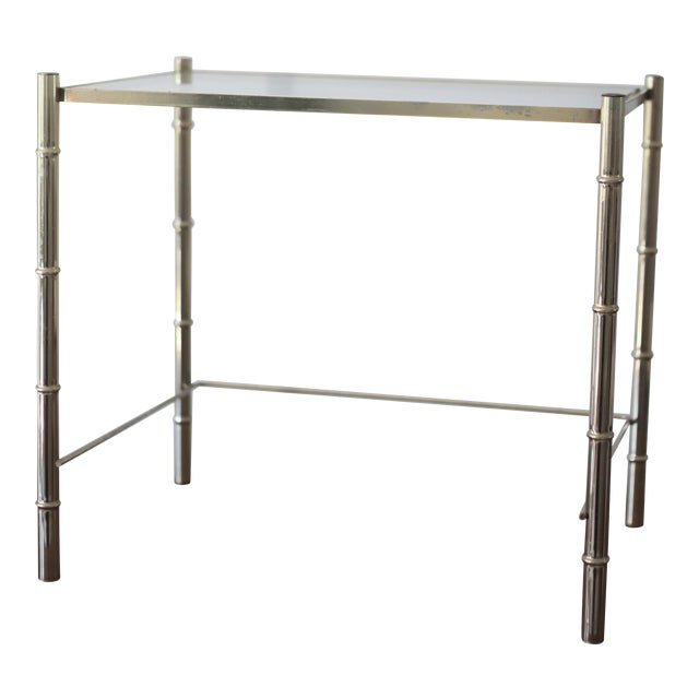 Vintage Brass Faux Bamboo Side Table - Image 1 of 7