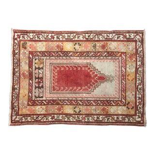 Early 20th Century Antique 'Erol' Turkish Konya Prayer Rug - 3′2″ × 4′7″ For Sale