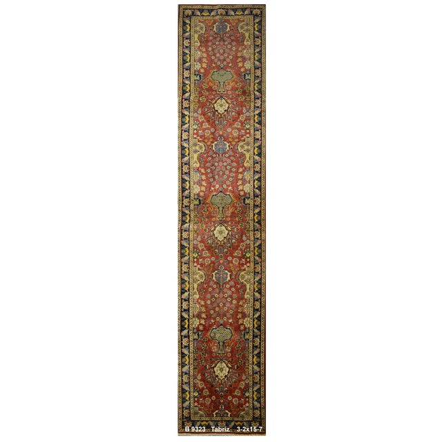 Vintage Persian Tabriz Rug - 3′2″ × 15′7″ - Image 1 of 3