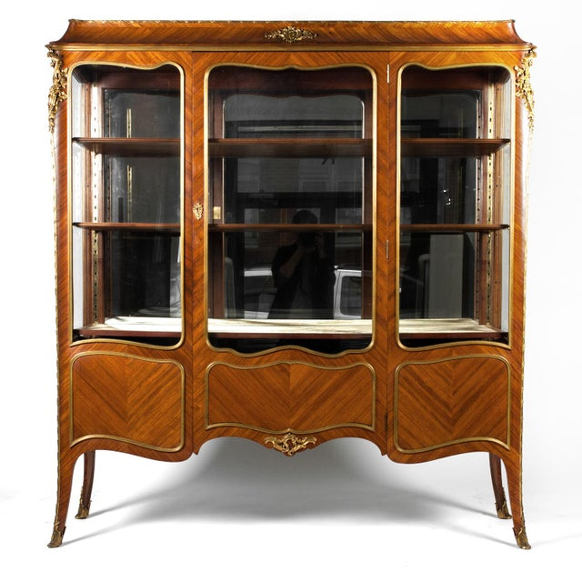 Brass Antique Louis XV Vitrine For Sale - Image 7 of 7