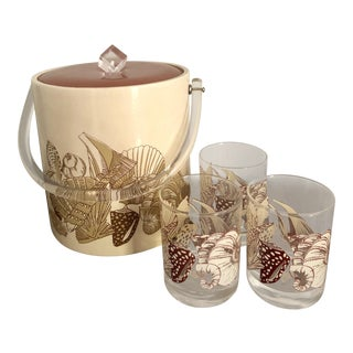Acrylic Seashell Ice Bucket & Matching Glasses - Set of 4 For Sale