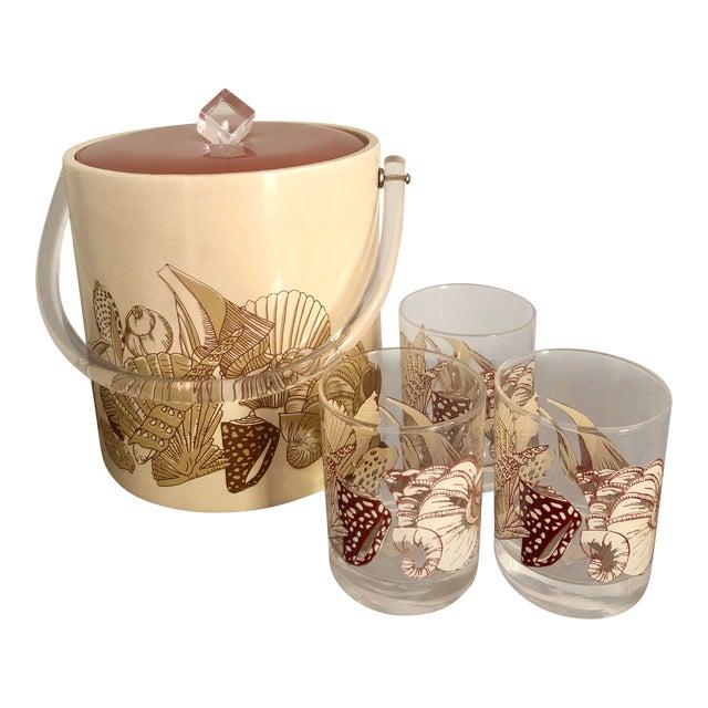 Acrylic Seashell Ice Bucket & Matching Glasses - Set of 4 For Sale
