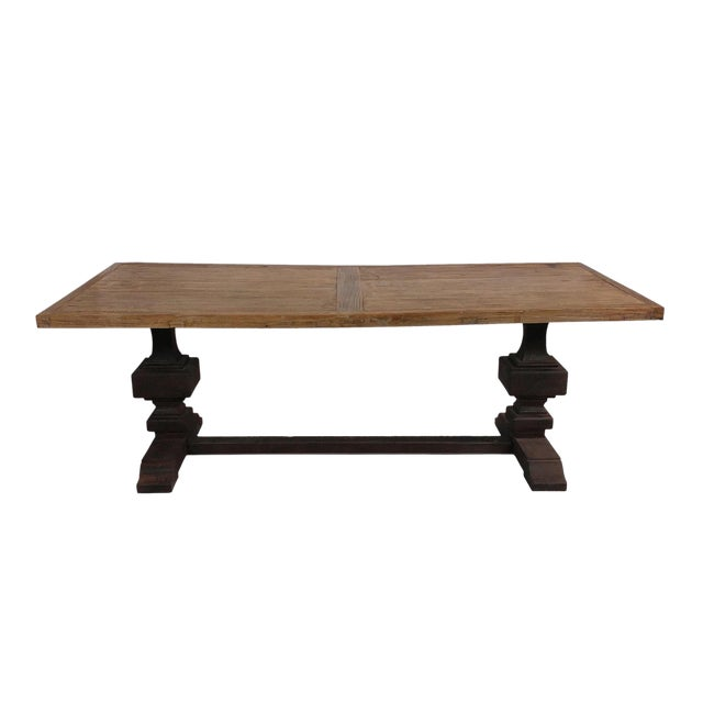Reclaimed Wood Dining Table with Metal Like Trestle For Sale