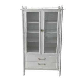 20th Century Hollywood Regency Faux Bamboo Cabinet For Sale