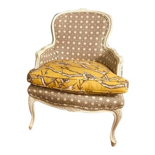 Traditional Re-Upholstered & Painted Bergere Chair For Sale