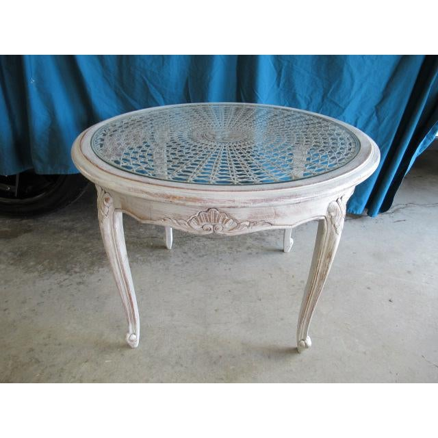 Mid 20th Century 20th Century Louis XV Distressed Painted Occasional Table For Sale - Image 5 of 5