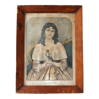 "19th Century N. Currier ""Charlotte"" Original Hand Colored Lithograph For Sale"