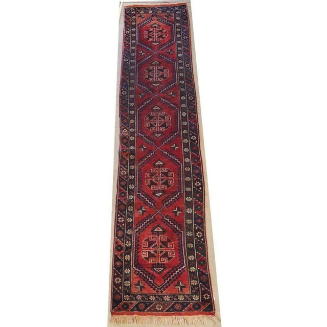 Vintage Distressed Hand-Tied Red Runner For Sale - Image 13 of 13