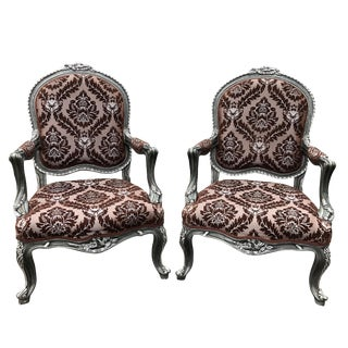 Antique Royal Victorian Ornate Floral Damask Tall Back Club Chairs - a Pair For Sale
