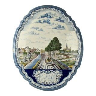Large Dutch Delft Polychrome Wall Plaque For Sale