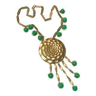 Vintage Gold Green 1970s Sunflower Dangles Beads Statement Necklace For Sale