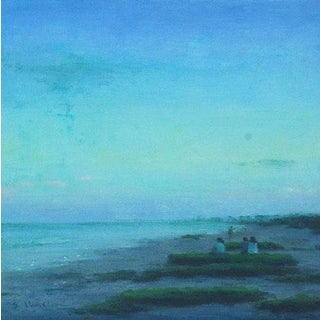 "Van Cleve Oil Painting ""Evening"", Contemporary Blue Seascape For Sale"