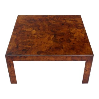 Burl Patch Work Square Coffee Table Amber to Rust Colors For Sale