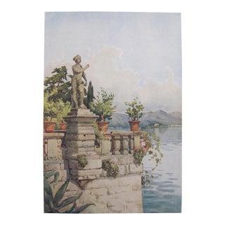 1905 Original Italian Print - Italian Travel Colour Plate - Terrace, Isola Bella, Lago Maggiore For Sale