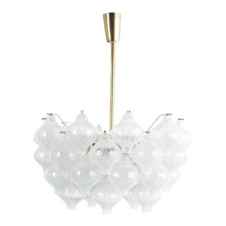 Refurbished J.T. Kalmar Tulipan Foam Glass Chandelier Lamp, Austria, 1960