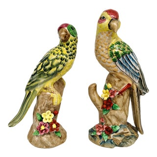 20th Century Chinese Import Style Parrot Bird Figurines - Set of 2 For Sale