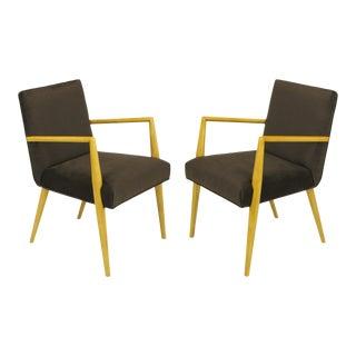 Pair of t.h. Robsjohn-Gibbings for Widdicomb Open Armchairs For Sale