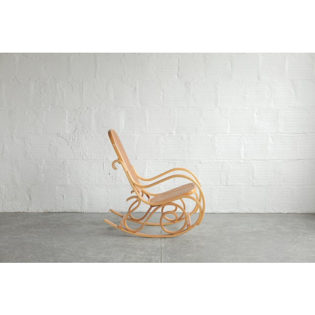 American Late 20th Century Vintage Rattan Rocking Chair For Sale - Image 3 of 6