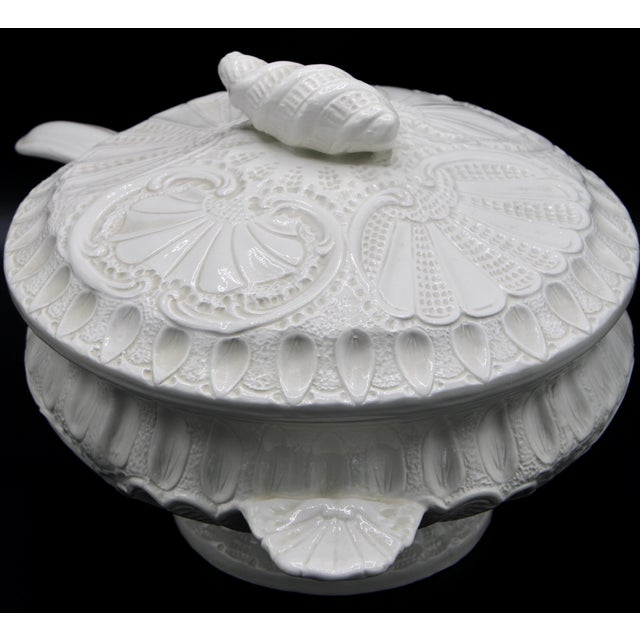 Large Italian Creamware Lidded Tureen With Ladle For Sale - Image 4 of 13