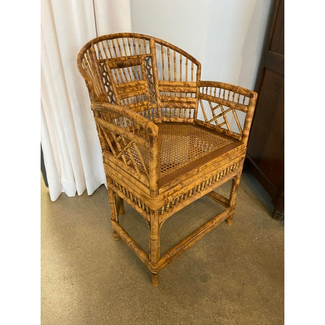 Wood Brighton Pavilion Style Chinoiserie Burnished Bamboo Armchair For Sale - Image 7 of 7