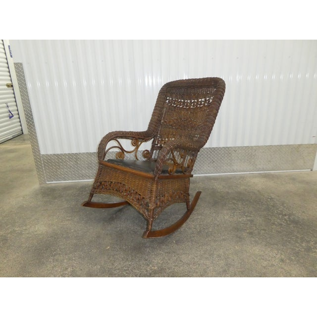 All Original Victorian Heywood Wakefield Wicker Rocking Chair sold as found in vintage condition structurally sound.