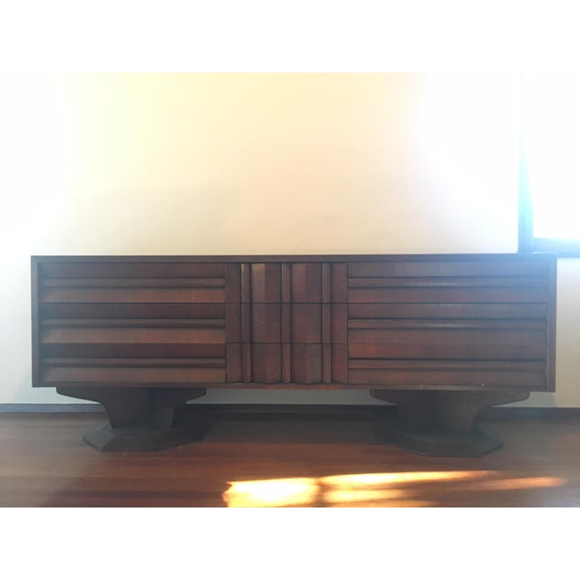 Wood Mid-Century Modern Architectural Wooden Dresser, Credenza, or Buffet For Sale - Image 7 of 7