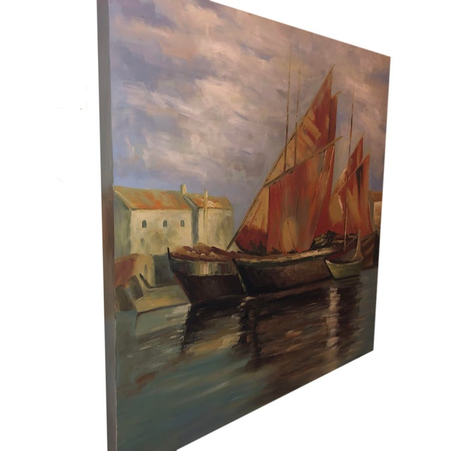 Sailboats Off the Coastline Painting Mid Century France For Sale In Dallas - Image 6 of 7