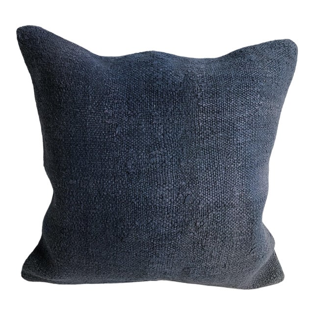 Turkish Anatolian Tribal Handwoven Blue Kilim Pillow Cover For Sale
