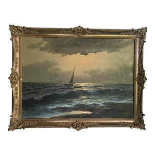 1930s Vintage M. Rinaldi Italian Seascape Signed Oil Painting For Sale