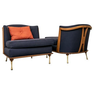 Mid Century Barrrel Back Lounge Chairs - a Pair For Sale