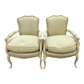 Light Green Bergere Arm Chairs in - a Pair For Sale