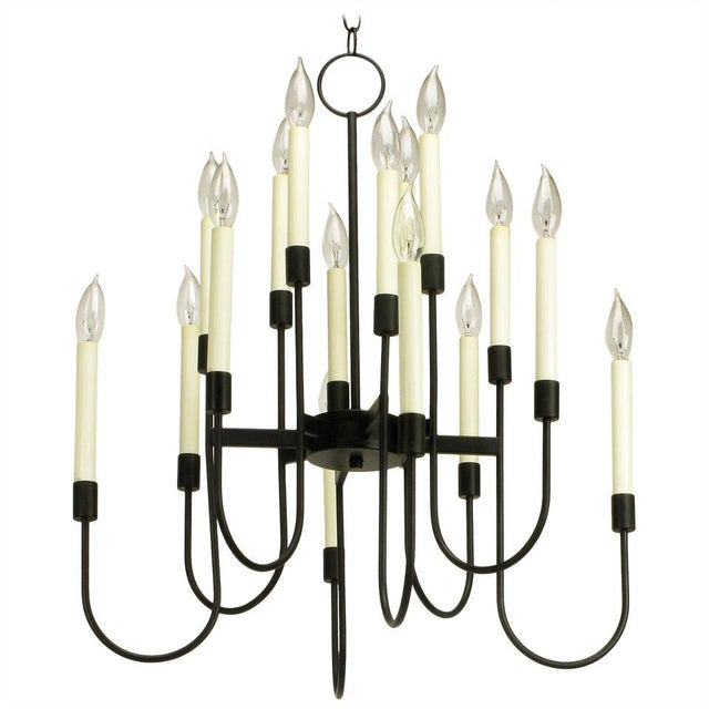 Lightolier Sixteen-Arm, Black Lacquer Chandelier For Sale - Image 11 of 11