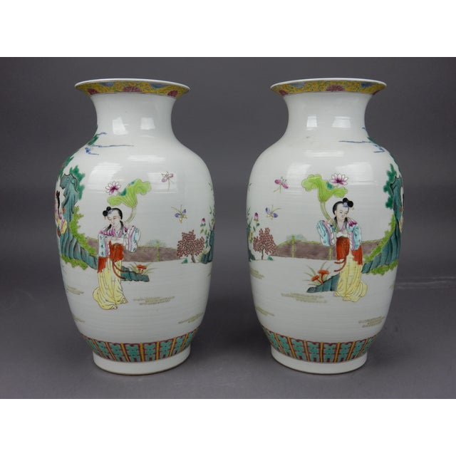For your Consideration; Gorgeous Chinese hand painted Famille Rose Mirror imaged Immortal Vases. An immortal holds a peach...