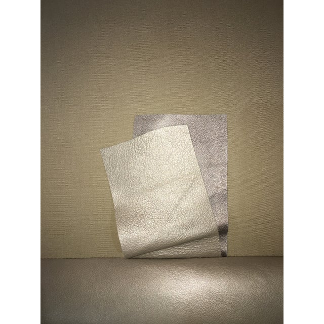 Modern LeatherCraft Custom Pearlized Italian Leather Sofa For Sale - Image 10 of 13