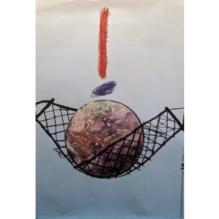 1989 Original Poster for Artis 89's Images Internationales Pour Les Droits De l'Homme Et Du Citoyen - Ball in Net For Sale