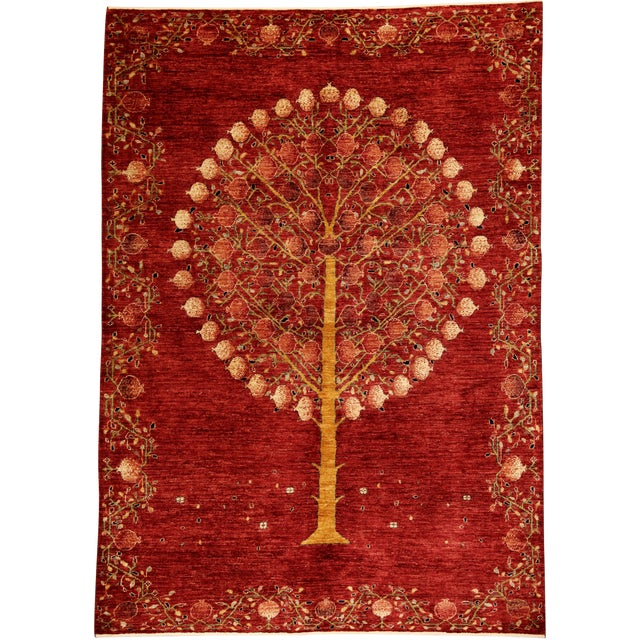 "Pomegranate Tree Wool Rug - 5'6"" X 7'10"" For Sale"