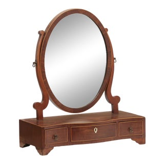 Antique 18th Century George III Inlaid Mahogany Vanity Mirror For Sale