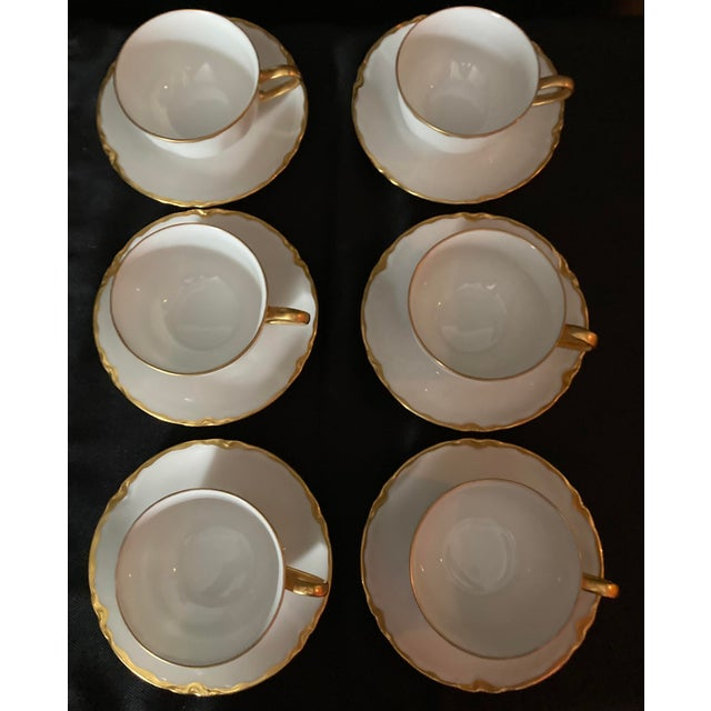 Hutschenreuter White Porcelain and Gold Cup and Saucers - Set of 6 For Sale In Houston - Image 6 of 13
