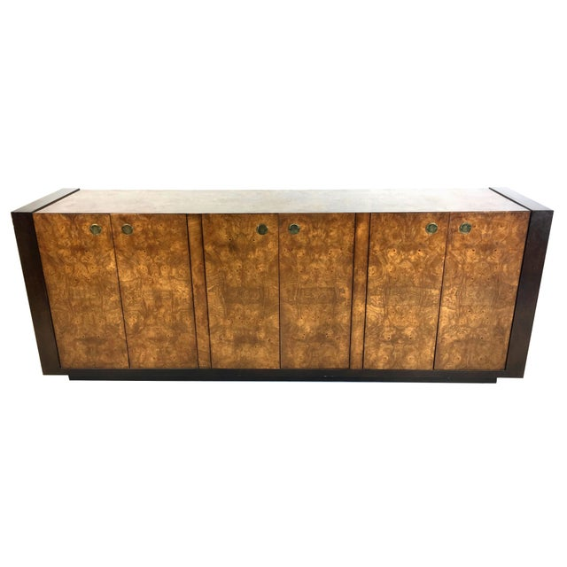 Mid-Century Modern Extraordinary Mahogany and Elmwood Burl Sideboard Cabinet For Sale - Image 3 of 6