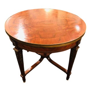 French Louis XVI Style Center Table Circular, Inlaid With Fine Bronze Mountings For Sale