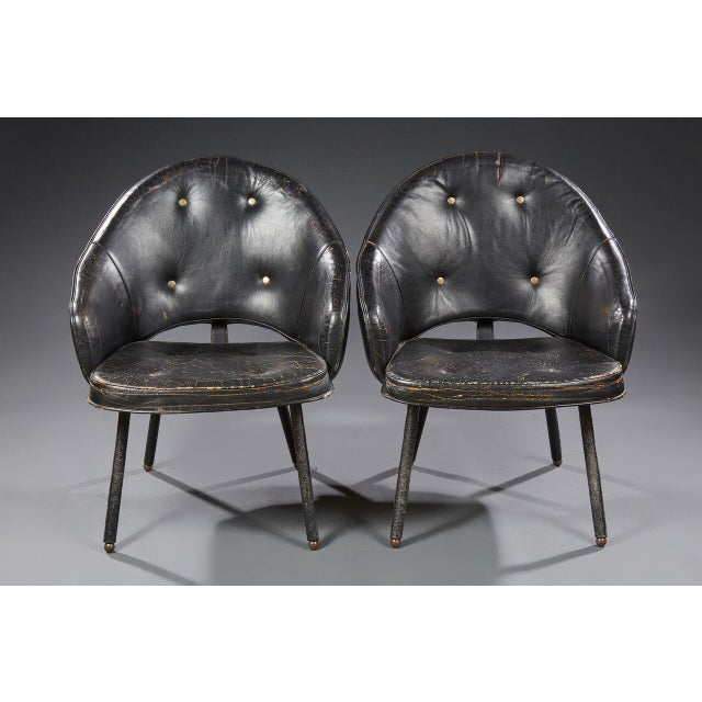 Mid-Century Modern Jacques Adnet (1900-1984), Pair of Armchairs, Circa 1960 For Sale - Image 3 of 8