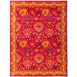One-Of-A-Kind Contemporary Patterned & Floral Hand-Knotted Area Rug, Strawberry, 8' 10 X 11' 9 For Sale