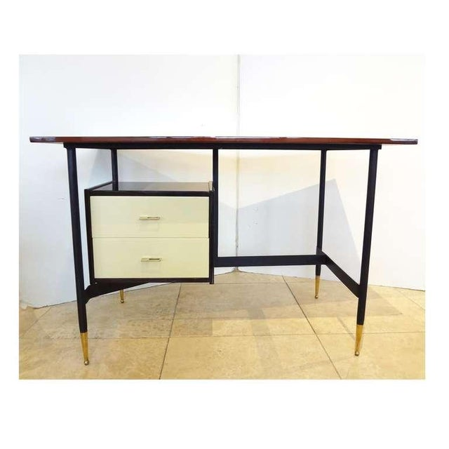 Mid-Century Writing Desk in Mahogany and Lacquer, Italy Circa 1955 For Sale - Image 4 of 6