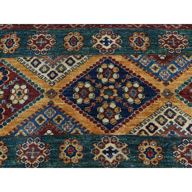 Brown Kazak Khorjin Hand-Knotted Pure Wool Rug For Sale - Image 8 of 13
