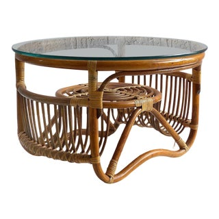 Franco Albini Style Bent Rattan and Reed Coffee Table With Glass Top