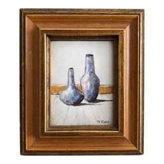 Max Karp Vintage Original Still Life Vases Enamel on Copper Miniature Painting For Sale