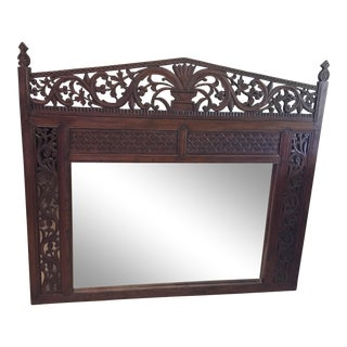 1900s Boho Chic Balinese Ornate Wood Hand Carved Large Framed Mirror