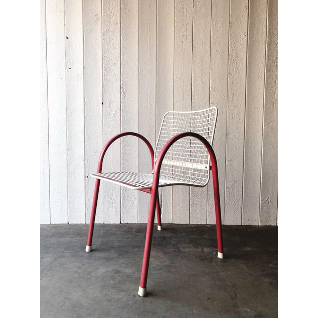Metal 80's Vintage Designer Arc Grid Patio Chairs For Sale - Image 7 of 12