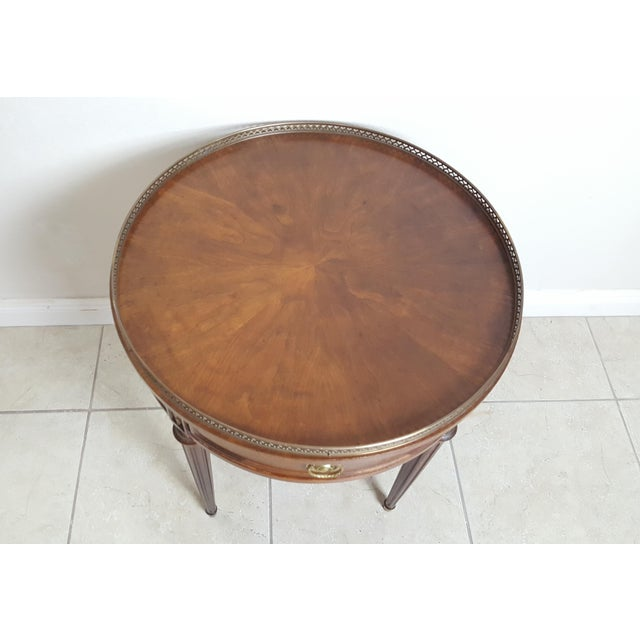 Henredon Empire Style Round Wood With Brass Border Tray End Table For Sale - Image 10 of 13